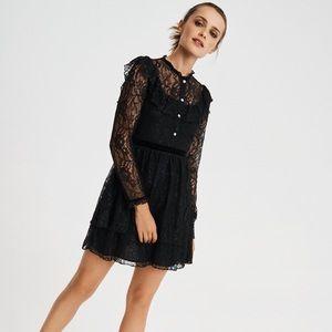 NWT Zara Black Lace Jewel Buttons Mini Dress